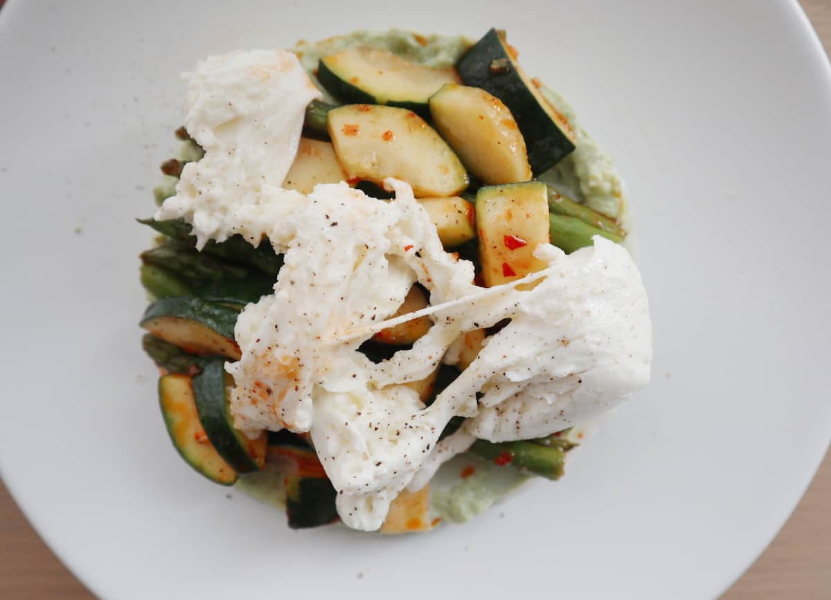 Lauwwarme salade gegrilde groenten